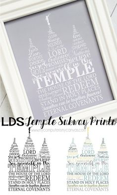 BEAUTIFUL printable of the Salt Lake Temple!  LDS Temple Subway Art Print; great to display in your home or print the smaller sizes for FHE or lesson handouts. #mycomputerismycanvas