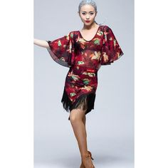 Women's ladies female red floral black lace see through tassels middle long sleeves sexy fashionable competition practice professional ballroom dance latin dance dresses samba salsa cha cha dancing dresses