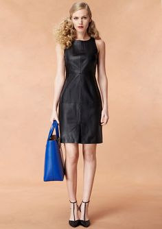 SUSANA MONACO Sleeveless Anabel Lambskin Leather Dress - LOVING this hair style as well!