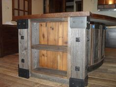 reclaimed wood, steel accents - for bar top
