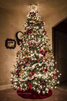 Christmas Tree Noel Christmas, All Things Christmas, Winter Christmas, Christmas Lights, Christmas Crafts, Christmas Tree Ideas, Xmas Trees, Rustic Christmas, Decorated Christmas Trees