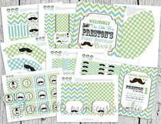 Vintage Little Man Mustache Bash, Moustache Bash or Barber Shop Party - Green and Teal. $40.00, via Etsy.