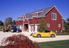 The Red Bank Barn   This barn was designed and built in New Jersey for an avid car collector. The upstairs of the barn in completely finished, and houses the owner's office.