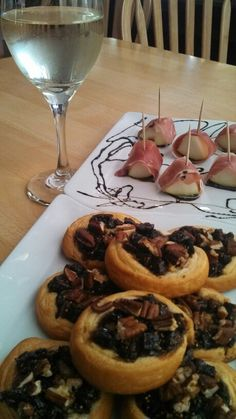 Riesling wine pairing.  Prosciutto wrapped pears with balsamic reduction.  Fig and blue cheese appetizer tarts from Smuckers.  Chateau St. Michelle Riesling. It was amazing!!  The fig was my favorite with the wine.
