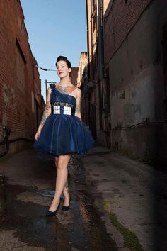 Upcycled TARDIS dress by BattlestarJillactica. Voted TARDIS dress of the day by Cheezburger.com