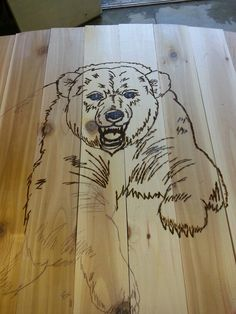 Wood burning bear.