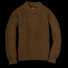 Designed as part of Levi's Golden Handshake collection, in celebration of the 100-year partnership between Levi's and Cone Denim Mills, this fisherman-style sweater is made of a thick wool yarn and features raglan sleeves, all-over ribbing and a thick stand-up crew neckline. -100% wool...
