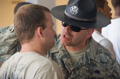 Military Training Instructors welcoming new recruits at Lackland Air Force Base, San Antonio, Texas