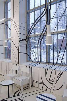 Stunning optical illusion graphics at The Logomo Cafe