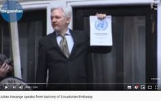 """2016 Feb Assange speaks about UNGWAD decision from the balcony """"A victory that cannot be denied."""
