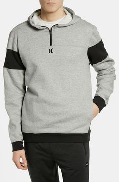 Men's Hurley Surf Check Quarter Zip Hoodie, Size X-Large - Grey Surf Check, Sup Accessories, Zip Hoodie, Pullover, Hurley, Gopro, Hooded Jacket, Surfing, Action