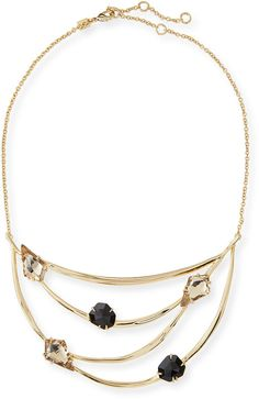 Alexis Bittar Golden Crystal Bib Necklace