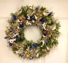 Blue and White Dried Flower Wreath from NaturDesign on Etsy Dried Flower Wreaths, Dried Flowers, White Wreath, Floral Wreath, All Flowers, Christmas Wreaths, Centerpieces, Blue And White, Reading