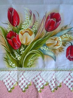Crochet Edging Patterns, Embroidery Patterns, Pinterest Pinturas, Fabric Paint Designs, Fruit Picture, Painted Wine Bottles, Beautiful Flowers Wallpapers, Flower Canvas, Art Drawings Sketches Simple
