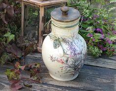 "Купить Старая крынка "" Луговые цветы"" - бежевый, крынка, кувшин, глечик, Керамика"