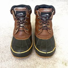 Polar Edge duck boots Polar Edge dick boots with Thinsulate lining. Pre-loved but still intact with rubber sealing and inner lining. Steel shank. Genuine leather upper. They're a boy's size 4, which makes them a women's 6. Polar Edge Shoes Winter & Rain Boots