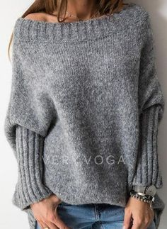 Knitting Patterns Sweter Similar Image Off-Shoulder Sweater Off Shoulder Sweater, Long Sleeve Sweater, Loose Sweater, Cozy Sweaters, Pullover Sweaters, Poncho Sweater, Pullover Mode, Jumper Dress, Knit Fashion