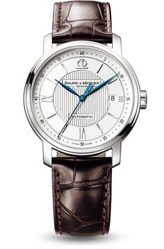 Discover the Classima 8791 steel watch for men with automatic movement, blued steel hands and dark brown alligator leather strap, designed by Baume et Mercier, Swiss Watch Maker.