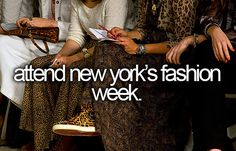 Attend New York's Fashion Week. (I know it's not the most important thing in the world, but I love fashion design.)
