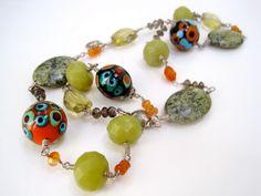 From a Portola Valley, CA Artist Verde Splash Necklace by TigersPrance on Etsy, $125.00