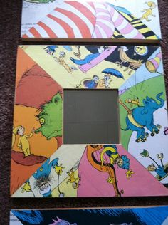 """Baby shower gift for my friend who is doing a Dr. Suess themed room. Cut up the book """"Oh the places you will go"""" and put it on wood mirror frames."""