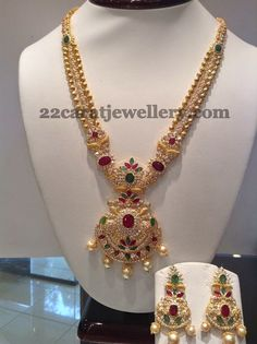 Jewellery Designs: 76 Grams Uncut Long Set