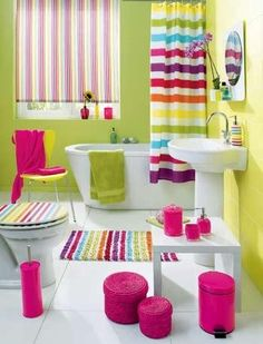 carnival-like rainbow bathroom. nothing like a cheerful, girly bathroom in bold colors to brighten up ones day :) - Amazing House Design Teen Bathrooms, Bathroom Kids, Bathroom Colors, Colorful Bathroom, Bathroom Designs, Girl Bathroom Ideas, Kids Bath, Small Bathrooms, White Bathroom