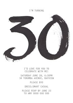 16 best 30th birthday inspiration images on pinterest 30 birthday black and white 30th birthday invitation filmwisefo