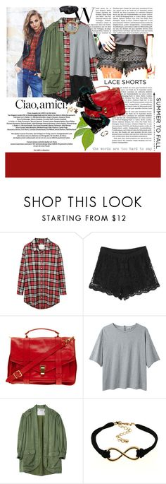 """""""Summer to Fall: Ultra-Fem Lace Shorts"""" by minnie-me ❤ liked on Polyvore featuring MANGO, R13, Proenza Schouler, Chanel, Acne Studios, CÉLINE, Balenciaga, contest, plaid and parka"""