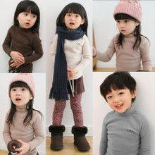 Áo thun bé gái cổ cao, thuần màu, thiết kế kiểu dáng xinh xắn