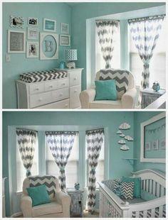 Turquoise, light gray and white zig zag nursery. Unisex
