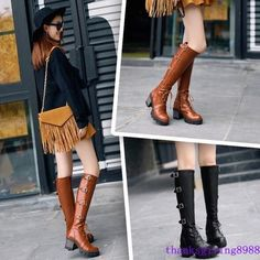 Women'S Chunky Heel Platform Lace Up Knee High Riding Buckle Boots Shoes 3 Color