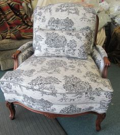 J Royale Bergere Chair in Black and White Toile by WydevenDesigns, $675.00