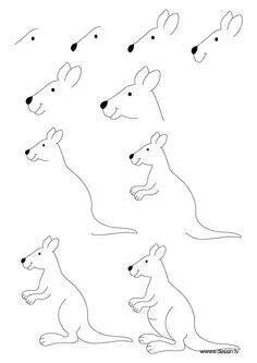 drawing kangaroo - Hundreds of drawing tuts on this site Pencil Art Drawings, Doodle Drawings, Animal Drawings, Easy Drawings, Drawing Lessons For Kids, Art Lessons, Kangaroo Drawing, Animal Templates, Aboriginal Art