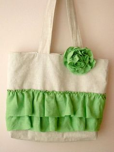 Natural Linen Tote Bag Shabby chic OOAK