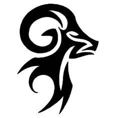 Tribal Ram Stencil Tattoo Design - TattooWoo.com