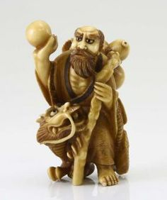 Japanese Sage Dragon Carved Ivory Netsuke Meiji Period 1866-1912