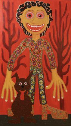 Boy and Dog/Maarit Korhonen, acrylic, canvas, 73cm x 41cm Dark Paintings, Original Paintings, Online Painting, Artwork Online, Dancer In The Dark, Canvas Art, Acrylic Canvas, Autumn Painting, Original Art For Sale