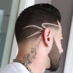 Taper Fade with Design hair style boys