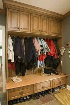Storage & Closets Photos Back Door Mud Room Design, Pictures, Remodel, Decor and Ideas - page 3 Mudroom Cabinets, Mudroom Laundry Room, Wood Cabinets, Kitchen Cabinets, Coat Storage, Storage Closets, Bench Storage, Storage Ideas, Entryway Storage