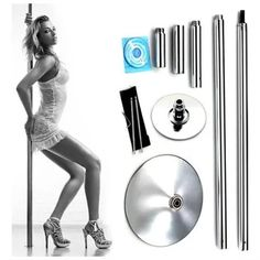 Professional Stainless Steel 45mm Portable Fitness Exotic Stripper Strip Spinning Dancing Pole Home Removable dance training