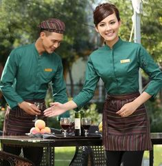 long sleeve Work wear restaurant uniform waitress uniform chinese restaurant waiter uniform restaurant hostess uniform(China (Mainland))