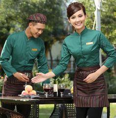 long sleeve Work wear restaurant uniform waitress uniform chinese restaurant waiter uniform restaurant hostess uniform(China (Mainland))