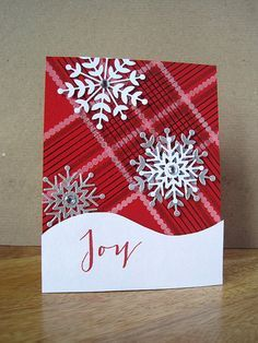card christmas Snowflake Joy - plaid paper tartan paper pattern - snowdrift border