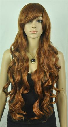 New Fashion Cute Women Girls Brown Long Curly Full Cosplay wigs $16.99