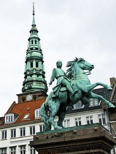 Building and statue, Copenhagen, Denmark.