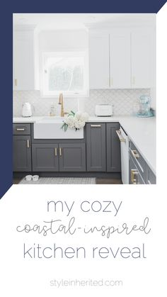 This coastal-inspired kitchen features a large farmhouse sink, a gold faucet, gold cabinet handles and pulls, white upper cabinets and grey lower cabinets, Cafe Appliances with bronze hardware, and a stunning scallop tile backsplash. Learn more about this gorgeous kitchen and get the full details on cabinet color at styleinherited.com! #coastalkitchen #kitcheninspiration #goldandwhitekitchen Grey Kitchen Cabinets, Kitchen Inspirations, Coastal Kitchen, Coastal Inspired Kitchens, Upper Kitchen Cabinets, Cabinet, Grey Kitchen Designs, Kitchen Renovation, Upper Cabinets