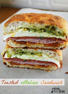 This Toasted Italian Sandwich will become your new lunchtime favorite! Ham, pepperoni, salami and Mozz with pesto and sundried tomatoes on a Ciabatta roll.