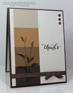 Stampin' Up! ... handmade thank-you card ... World of Dreams from Stamp With Amy K ... faux paint chip technique in browns ... silhouette stamped bloom ... formal precision ... perfect gros grain bow ... luv it!! by lindsey