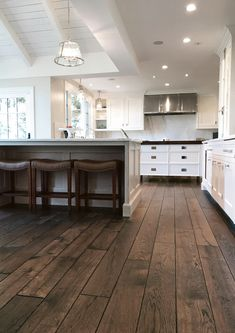 This timeless floor was installed using the glue down method directly over radiant heat on a concrete slab subfloor. Features: Vintage French Oak on Engineered Baltic Birch MRP (Moisture Resistant Platform); Rustic Wood Floors, Farmhouse Flooring, Wood Tile Floors, Wide Plank Flooring, Engineered Hardwood Flooring, Kitchen Flooring, Planks, Scraped Wood Floors, Hand Scraped Hardwood